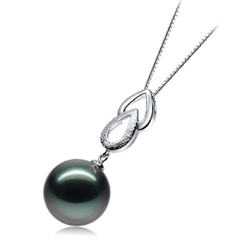 Anhänger mit schwarzen, 11-12mm großen Tihitianischen Perlen in AAA-Qualität , Teardrop