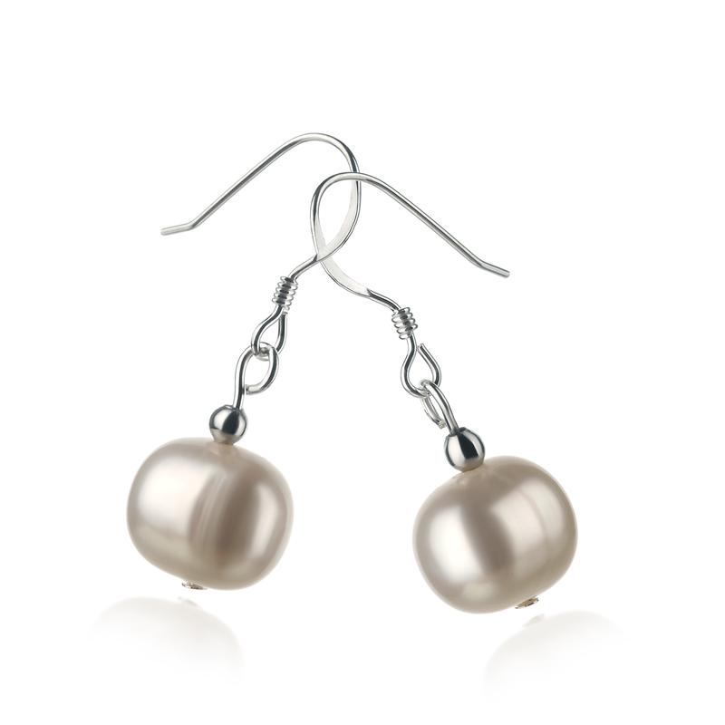 Paar Ohrringe mit weißen, 8-9mm großen Süßwasserperlen in A-Qualität , Teresa