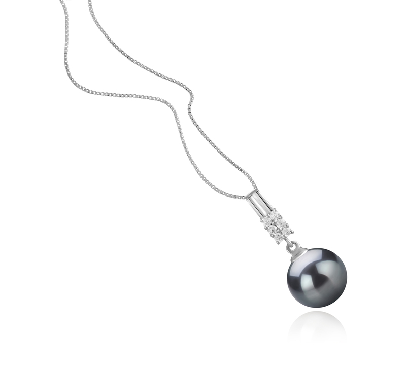 Anhänger mit schwarzen, 9-10mm großen Tihitianischen Perlen in AAA-Qualität , Thelma
