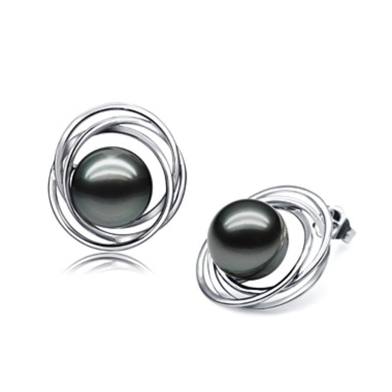 Paar Ohrringe mit schwarzen, 9-10mm großen Tihitianischen Perlen in AAA-Qualität , Triple Circle Stud