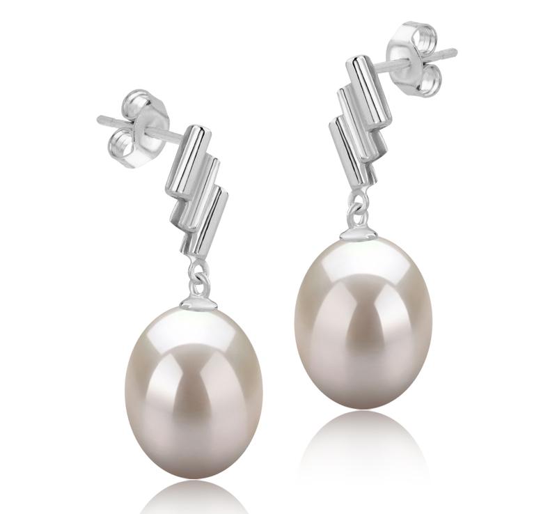 9-10mm AAA-Qualität Süßwasser Paar Ohrringe in Ursula Weiß