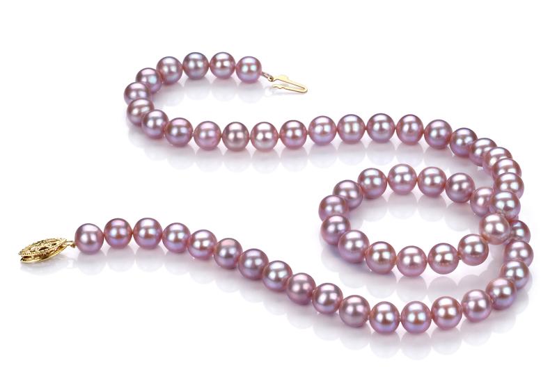 Halskette mit lavendelfarbenen, 6-6.5mm großen Süßwasserperlen in AA-Qualität , Uta