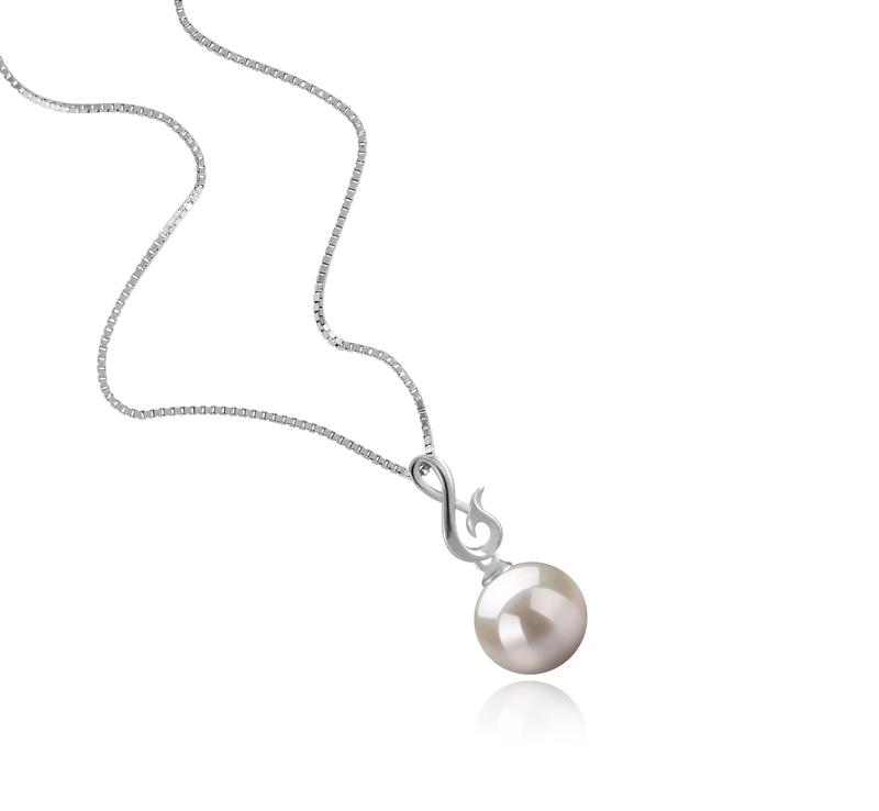 9-10mm AAAA-Qualität Süßwasser Perlenanhänger in Valena Weiß