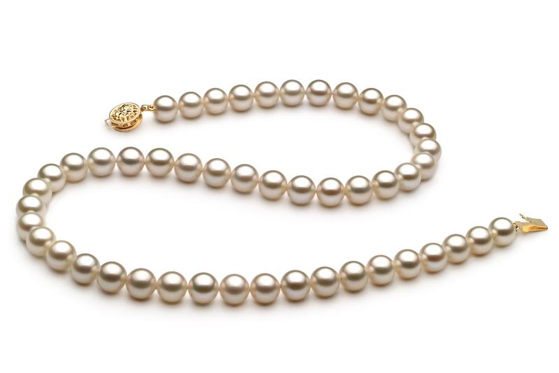 Halskette mit weißen, 7-8mm großen Süßwasserperlen in AAAA-Qualität , Venice