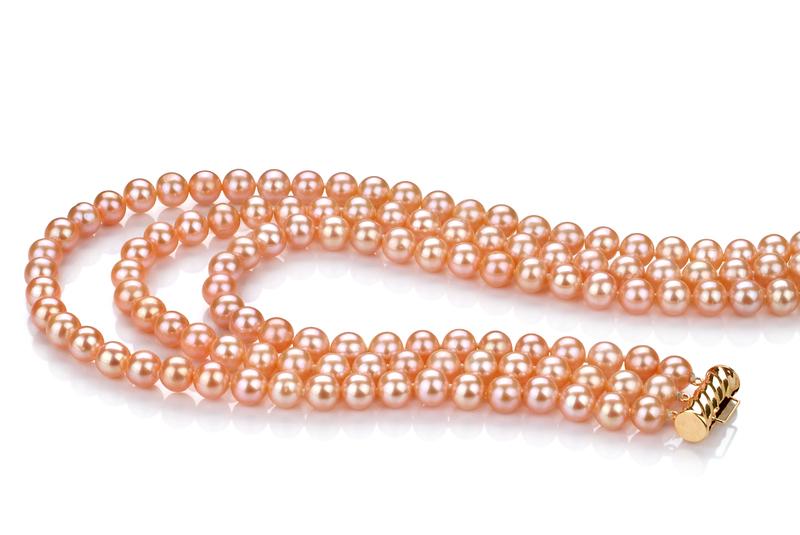 Halskette mit rosafarbenen, 6-7mm großen Süßwasserperlen in AA-Qualität , Verena