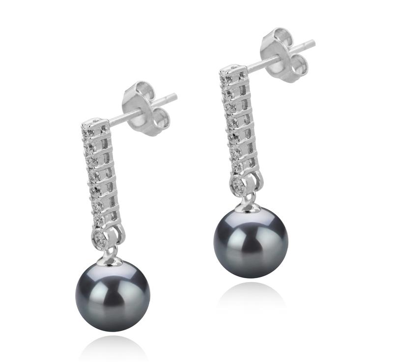 Paar Ohrringe mit schwarzen, 10-11mm großen Tihitianischen Perlen in AAA-Qualität , Verna