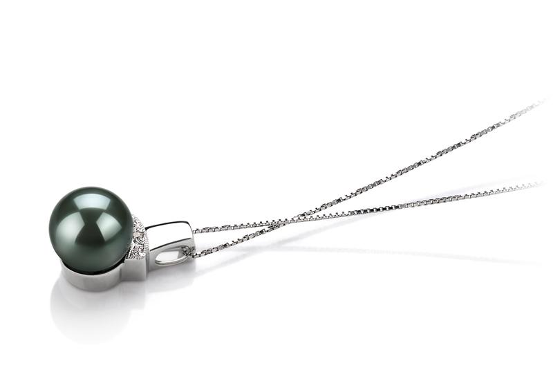 Anhänger mit schwarzen, 8-9mm großen Tihitianischen Perlen in AAA-Qualität , Viviane