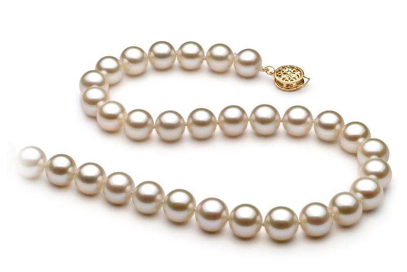Halskette mit weißen, 8-8.5mm großen Süßwasserperlen in AAAA-Qualität , Vivienne