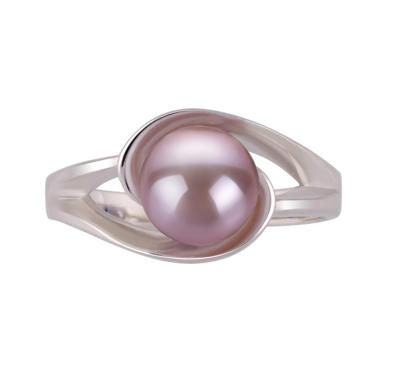 PearlsOnly - Ring mit lavendelfarbenen, 6-7mm großen Süßwasserperlen in AAA-Qualität , Wenke