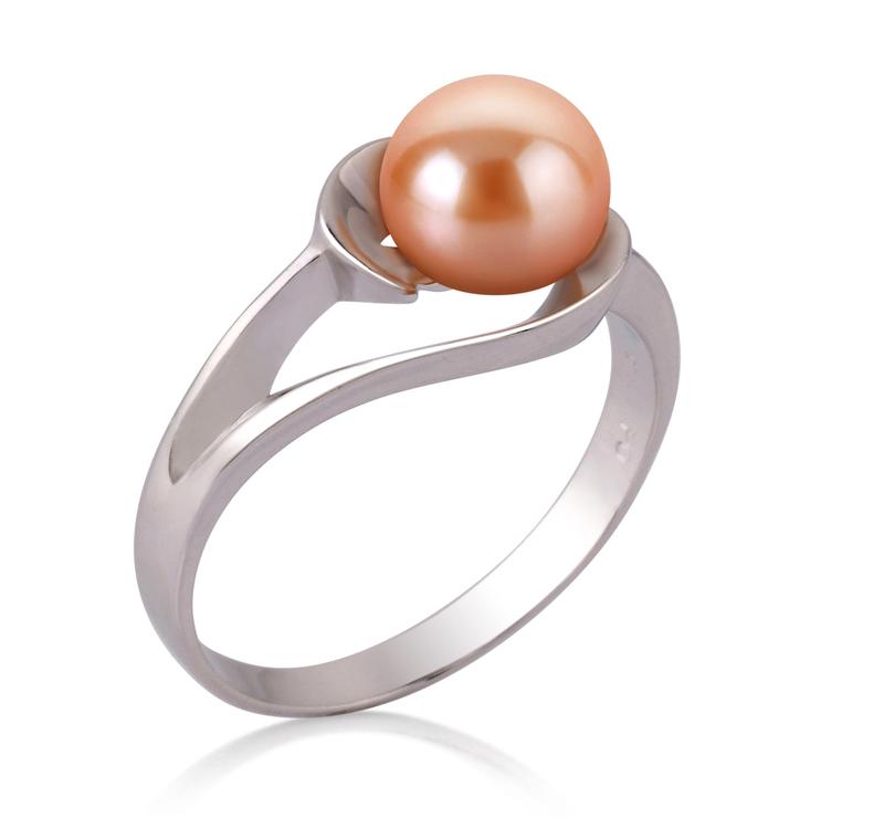 Ring mit rosafarbenen, 6-7mm großen Süßwasserperlen in AAA-Qualität , Wenke