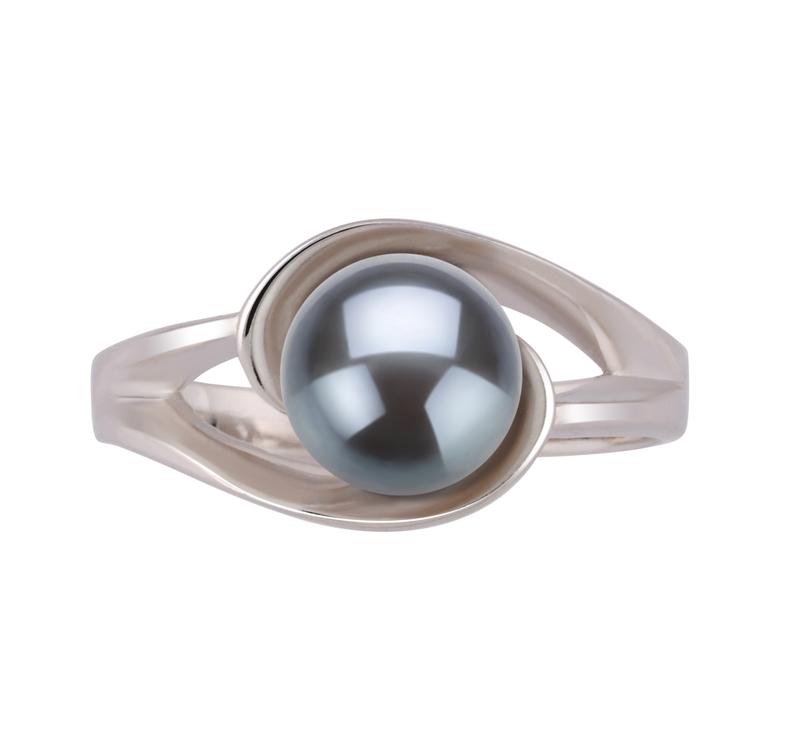 Ring mit schwarzen, 6-7mm großen Süßwasserperlen in AAA-Qualität , Wenke