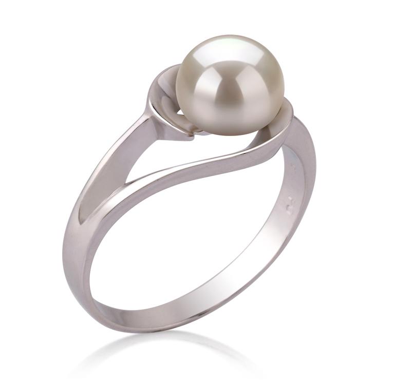 Ring mit weißen, 6-7mm großen Süßwasserperlen in AAA-Qualität , Wenke