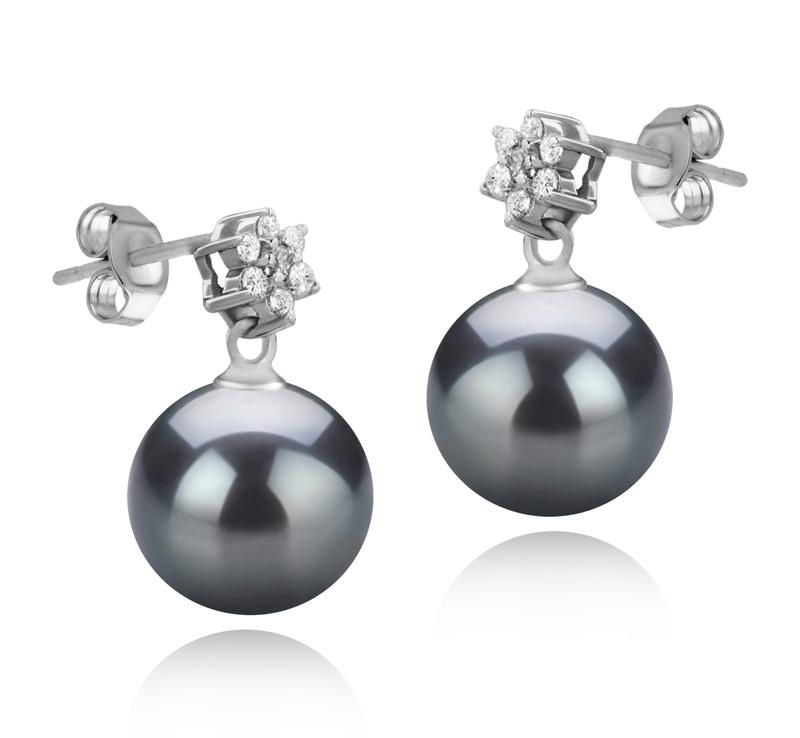 Paar Ohrringe mit schwarzen, 8-9mm großen Süßwasserperlen in AAAA-Qualität , Wilma