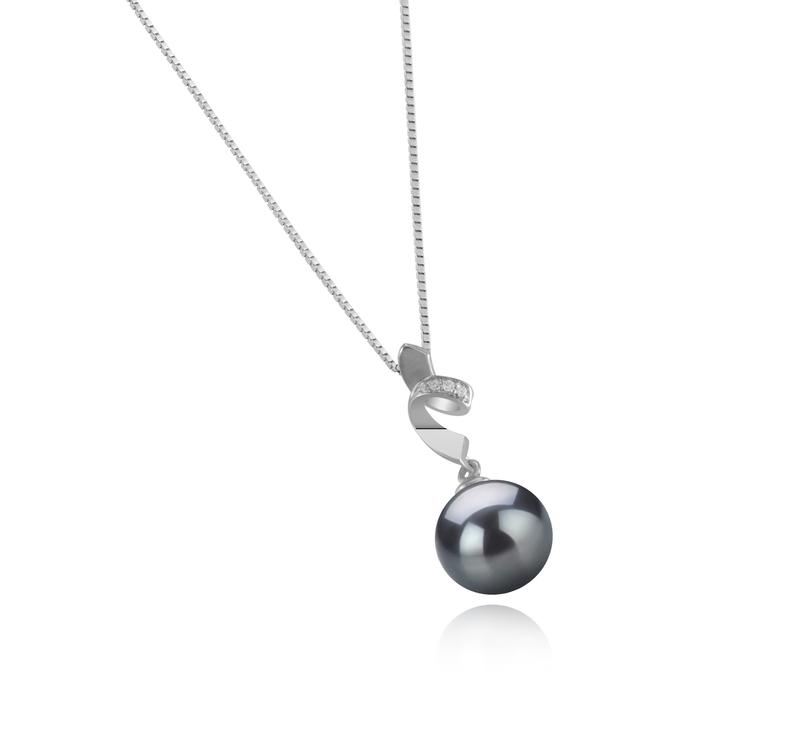 Anhänger mit schwarzen, 9-10mm großen Tihitianischen Perlen in AAA-Qualität , Winola