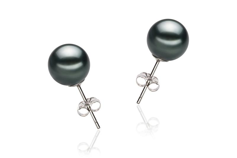 Paar Ohrringe mit schwarzen, 8-9mm großen Tihitianischen Perlen in AAA-Qualität , Yannie