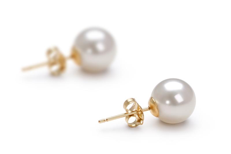 7-8mm AAAA-Qualität Süßwasser Paar Ohrringe in Zarina Weiß