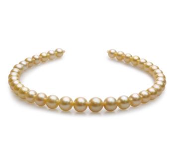 Halskette mit goldfarbenen, 10-13.5mm großen Südseeperlen in AAA-Qualität , 18-Zoll