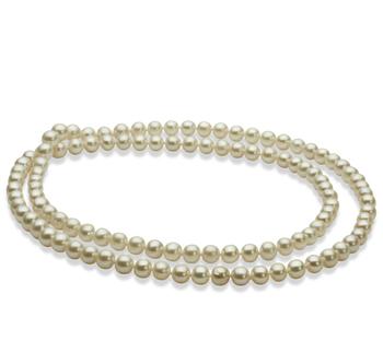 6-7mm AA-Qualität Süßwasser Perlenhalskette in 30 inches Weiß