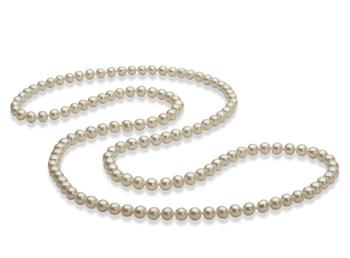 Halskette mit weißen, 5-6mm großen Süßwasserperlen in AAA-Qualität , 30 inches