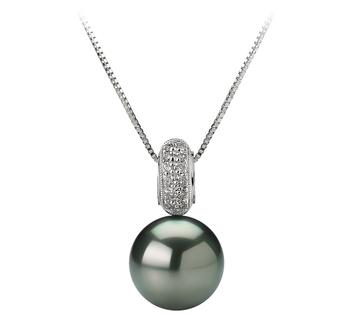 Anhänger mit schwarzen, 10-10.5mm großen Tihitianischen Perlen in AAA-Qualität , Alessya