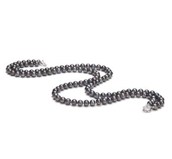 6-7mm AA-Qualität Süßwasser Perlenhalskette in Alexandra Schwarz