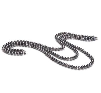 6-7mm AA-Qualität Süßwasser Perlenhalskette in Aline Schwarz