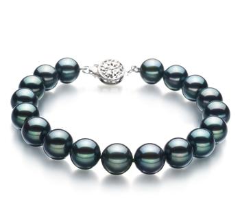 Armreifen mit schwarzen, 8.5-9mm großen Janischen Akoya Perlen in AA-Qualität , Aliya