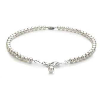Halskette mit weißen, 6-9mm großen Janischen Akoya Perlen in AA-Qualität , Almira