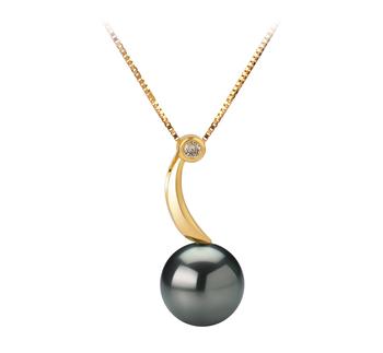 Anhänger mit schwarzen, 8-9mm großen Tihitianischen Perlen in AAA-Qualität , Amadea