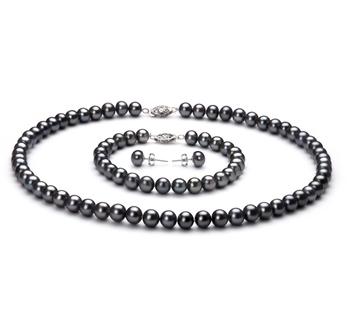 PearlsOnly - Set mit schwarzer, 6-7mm großer Süßwasserperle in AA-Qualität , Amalia