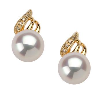 Paar Ohrringe mit weißen, 8-9mm großen Janischen Akoya Perlen in AAA-Qualität , Anastasia