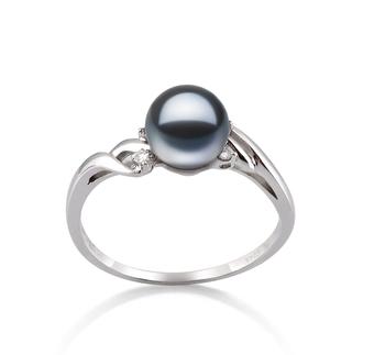Ring mit schwarzen, 6-7mm großen Süßwasserperlen in AAAA-Qualität , Andrea