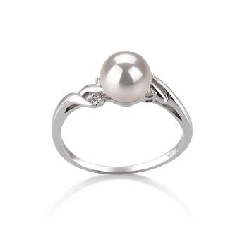 Ring mit weißen, 6-7mm großen Janischen Akoya Perlen in AAA-Qualität , Andrea