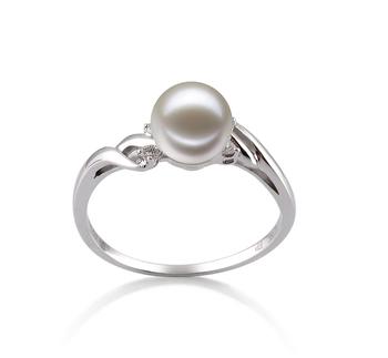 6-7mm AAAA-Qualität Süßwasser Perlenringe in Andrea Weiß