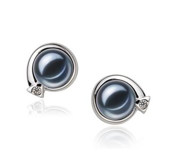 7-8mm AAAA-Qualität Süßwasser Paar Ohrringe in Angelina Schwarz