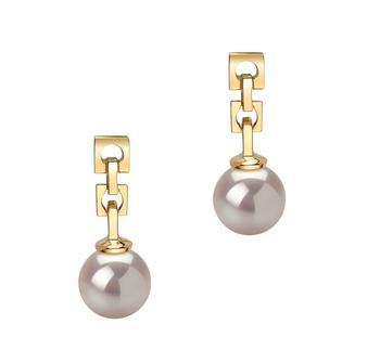 Paar Ohrringe mit weißen, 6-7mm großen Janischen Akoya Perlen in AA-Qualität , Anja
