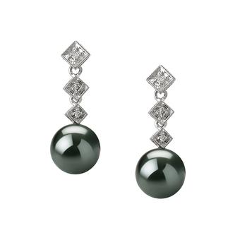 Paar Ohrringe mit schwarzen, 8-9mm großen Tihitianischen Perlen in AAA-Qualität , Anjana