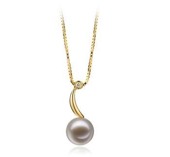 9-10mm AAAA-Qualität Süßwasser Perlenanhänger in Anne Weiß
