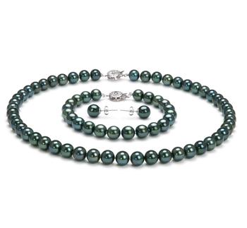 7.5-8mm AA-Qualität Japanische Akoya Perlen Set in Anneliese Schwarz
