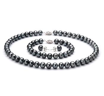 7.5-8.5mm AA-Qualität Süßwasser Perlen Set in Antoinette Schwarz