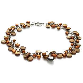 Halskette mit champagnerfarbenen, 6-7mm großen Süßwasserperlen in A-Qualität , Ariane - Perlen mit Herz-Glücksbringern