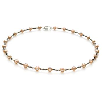 Halskette mit rosafarbenen, 6-7mm großen Süßwasserperlen in A-Qualität , Aurelia