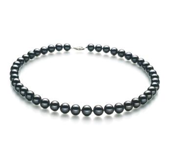 Halskette mit schwarzen, 8.5-9mm großen Süßwasserperlen in AA-Qualität , Bettina