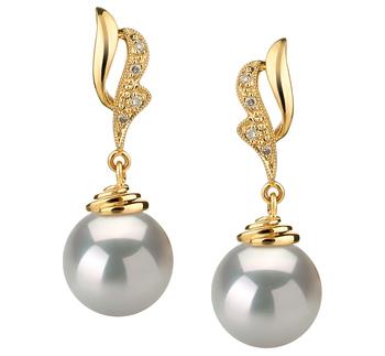 10-11mm AAA-Qualität Südsee Paar Ohrringe in Bianka Weiß