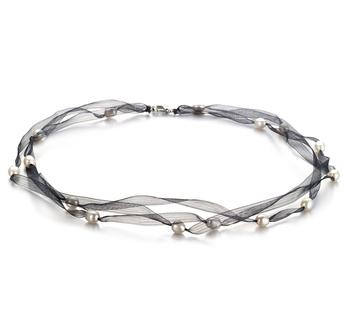 Halskette mit weißen, 5-6mm großen Süßwasserperlen in A-Qualität , Black Jasmin