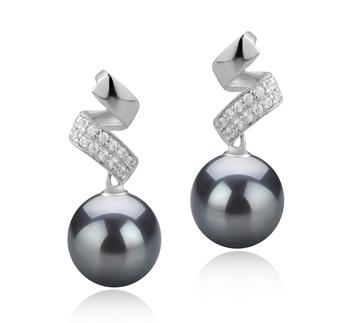 Paar Ohrringe mit schwarzen, 9-10mm großen Tihitianischen Perlen in AAA-Qualität , Blair