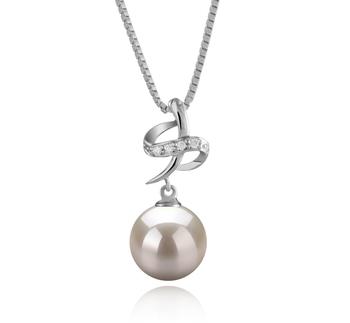 10-11mm AAAA-Qualität Süßwasser Perlenanhänger in Bridget Weiß
