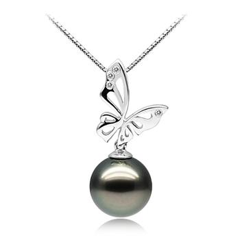 Anhänger mit schwarzen, 11-12mm großen Tihitianischen Perlen in AAA-Qualität , Butterfly