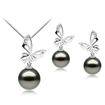 Set mit schwarzer, 10-12mm großer Tahitianischer Perle in AAA-Qualität , Butterfly