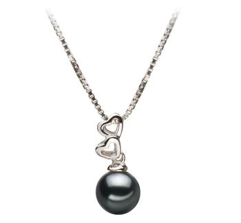 Anhänger mit schwarzen, 6-7mm großen Janischen Akoya Perlen in AA-Qualität , Camilla
